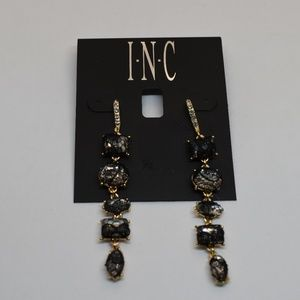 INC Gold Tone Stone & Lace Linear Drop Earrings